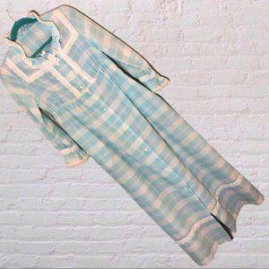 Vintage Housecoat/ House Dress/ Robe Blue plaid